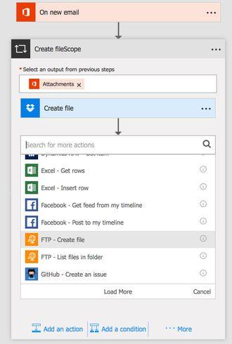Slik ser det ut når du oppretter en ny arbeidsflyt i Microsoft Flow.