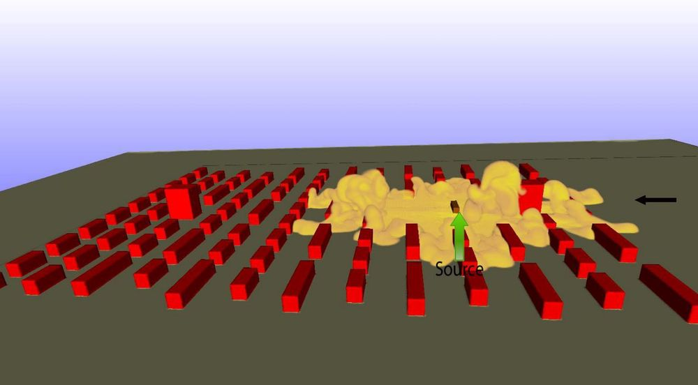 Bildet viser simulering av spredning av tung gass i en liten by, det vil si gasser som har høyere tetthet enn luft. Den grønne pilen viser utslippskilden, mens den svarte pilen er vindretningen.