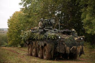 Stryker-vogn tilhørende Regimental Engineer Squadron, 2nd Cavalry Regiment på øvingsfeltet i Hohenfels i Tyskland i starten av oktober.