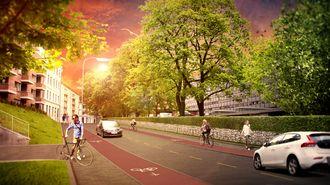 Slik ønsker Oslo kommune at sykkelveiene i byen skal være. De lager sine egne standarder. Illustrasjonen forestiller Åkebergveien.