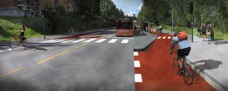 Slik ser Oslo kommune for seg at man kan løse problemet med sykkel og bussholdeplasser, omtalt i bildeteksten øverst.