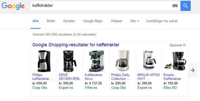 Det er Google-annonser som dette mye av striden står om. Google mener de bare er en forbedring av tidligere annonseformater, mens motpartene mener de fører til at de er konkurransehemmende og til skade for forbrukere.