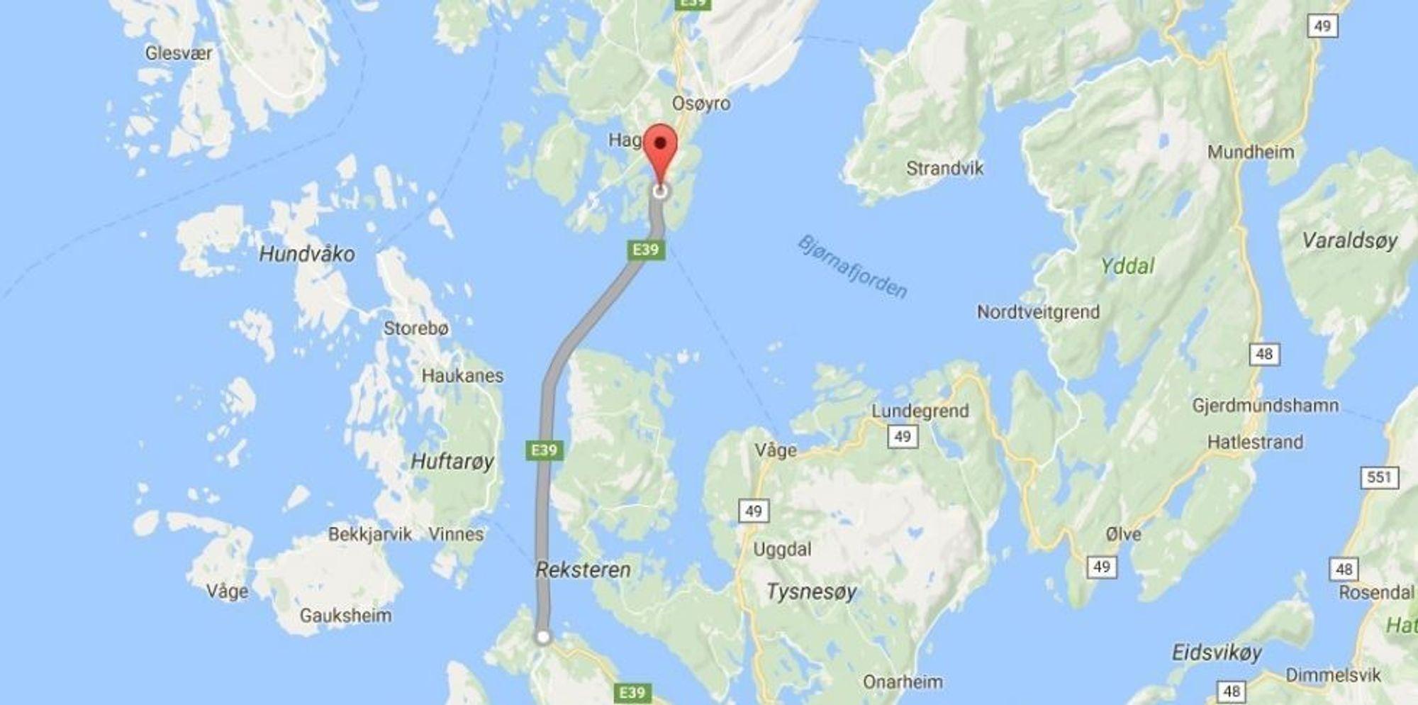 E39 Halhjem - Sandvikvåg. Her skal Torghatten Nord sette inn hybride ferger fra 2019.