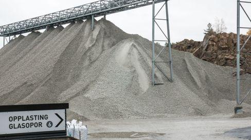 Omlag 60 000 kubikkmeter Glasopor har så langt gått med i Bjørvika, inkludert Sydhavna og Sørenga.