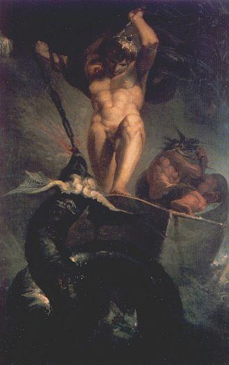 Tor i jotnen Hymes båt slåss med Midgardsormen. Maleri av Johann Heinrich Füssli fra 1788.