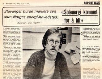 """""""Stavanger burde markere seg som Norges energi-hovedstad, ikke som oljehovedstad"""". sa Harald N. Røstvik til Rogalands Avis i 1979 (faksimile)."""