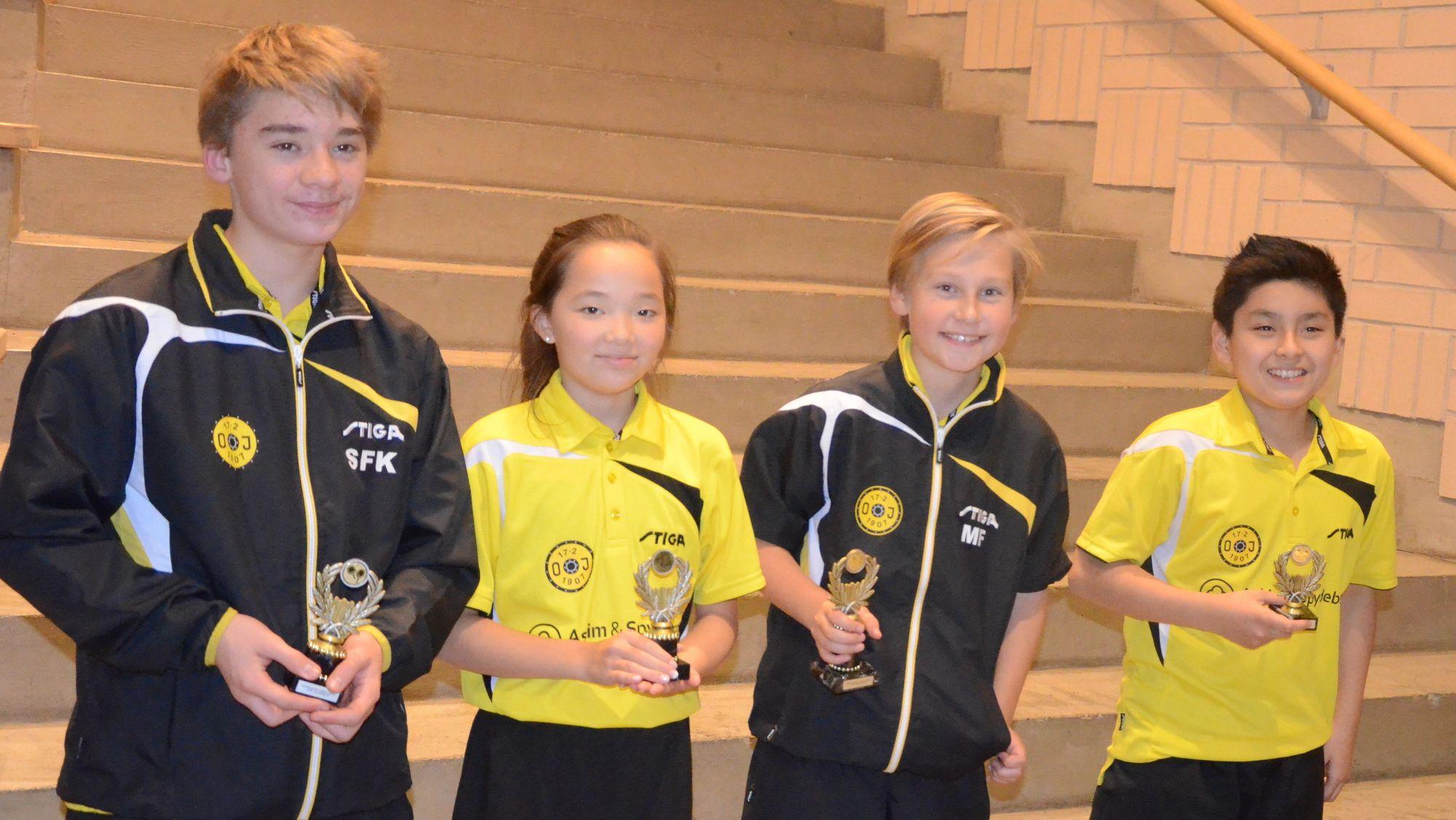 VANT SIN KLASSE: Best i Oppegård Open, og fra Oppegård IL: Sebastian Kolseth, Hanna Hovden, Markus Franck og Christoffer Wibe.
