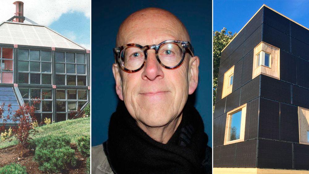 """""""Chanelle"""": Europas første moderne ny-fornybar-baserte nullenergihus med solvarme, solstrøm, vind og kakkelovn, fra 1988 (t.v.) Solhuset på Randaberg med bygningsintegrerte solceller til høyre. Arkitekt og professor Harald N. Røstvik i midten."""