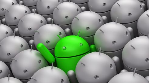 Green Android robot in the middle of grey crowd