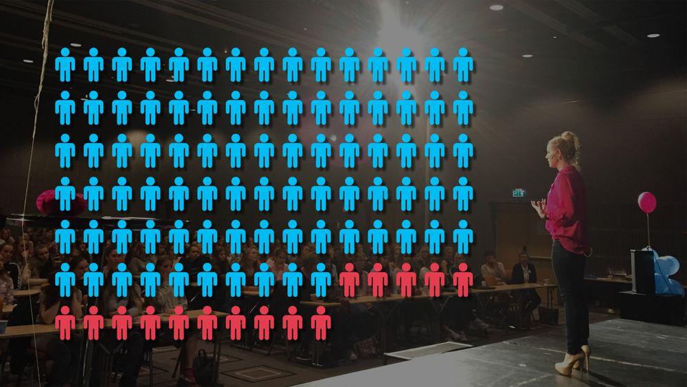 Fremdeles er kun 15 prosent av de sysselsatte ingeniørene kvinner. Her står kjernefysiker og rosablogger Sunniva Rose på scenen i Sarpsborg, for å overbevise ungdomsskolejenter om å velge teknologistudier.