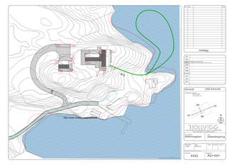 Denne situasjonsplanen viser hvordan varmepumpesløyfen går ut i Dalsfjorden og tilbake til huset.