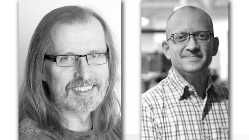 Til venstre Inside Telecom-journalist Håvard Fossen, til høyre Tek.nos Aksel Edgar-Lund.