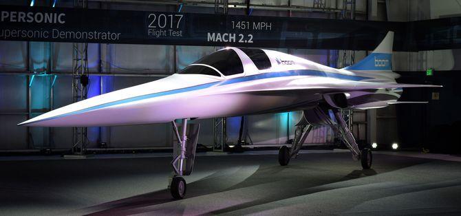 Dette er en modell av XB-1 «Baby Boom» som snart skal starte testflyging.