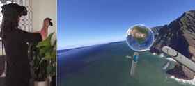 Du kan velge steder ved å få opp en virtuell jordklode som du kan dreie på med håndkontrollen.