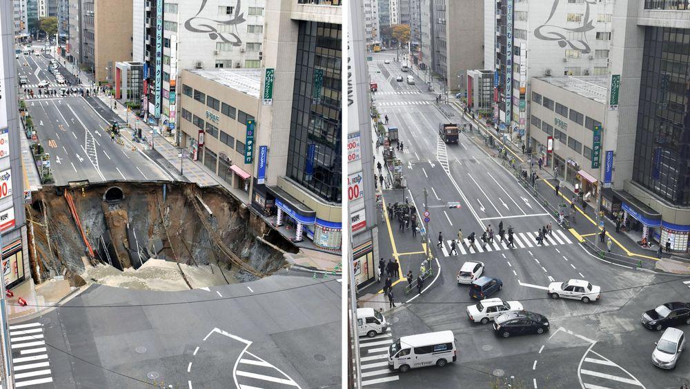 På bare 48 timer fylte japanere det enorme synkehullet som oppstod i Fukuoka City den 8. november.