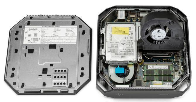 Slik ser Z2 Mini Workstation ut på innsiden. Det er plass til inntil 32 GB ECC-minne.