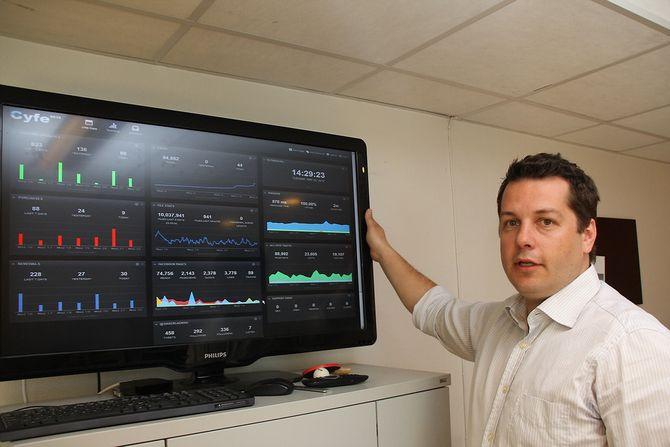 Roland Rabbenved siden av en skjerm som viser et dashbord med grafer. Foto.