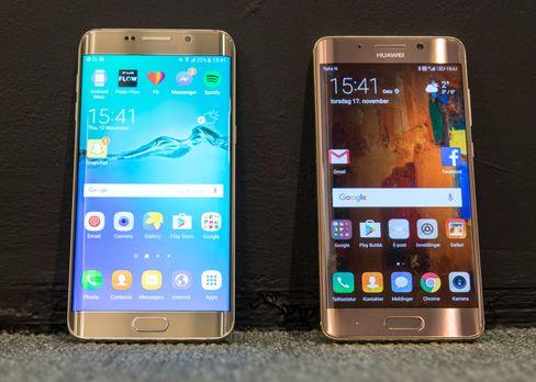 Huawei Mate 9 Pro og Samsung Galaxy S6 Edge+.