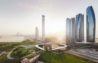 Oversiktsillustrasjonen forestiller Abu Dhabi, med den sirkelformede terminalen i midten av bildet.