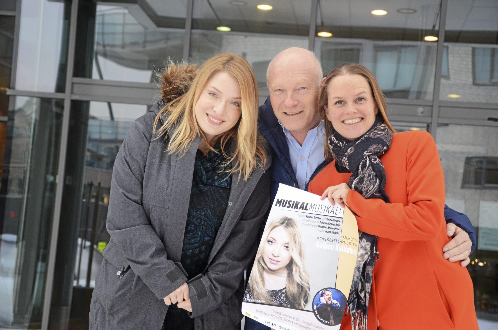KLARE FOR KONSERT: Reidun Sæther (f.v.), Steinar Eriksen og Maria Molund i KoKo er klare for å underholde folket med musikalske hiter!