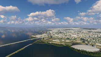 Ved hjelp av en BIM-modell ser man her et detaljert bilde av Hamar fra luften.