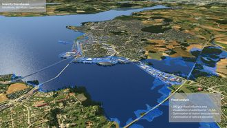 Modellen viser hvor høy vannstanden kan bli ved en 200-årsflom i Mjøsa.
