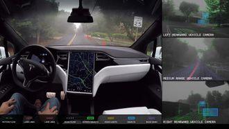 Tesla demonstrerer den nye selvkjøringsteknologien. (Foto: Tesla)