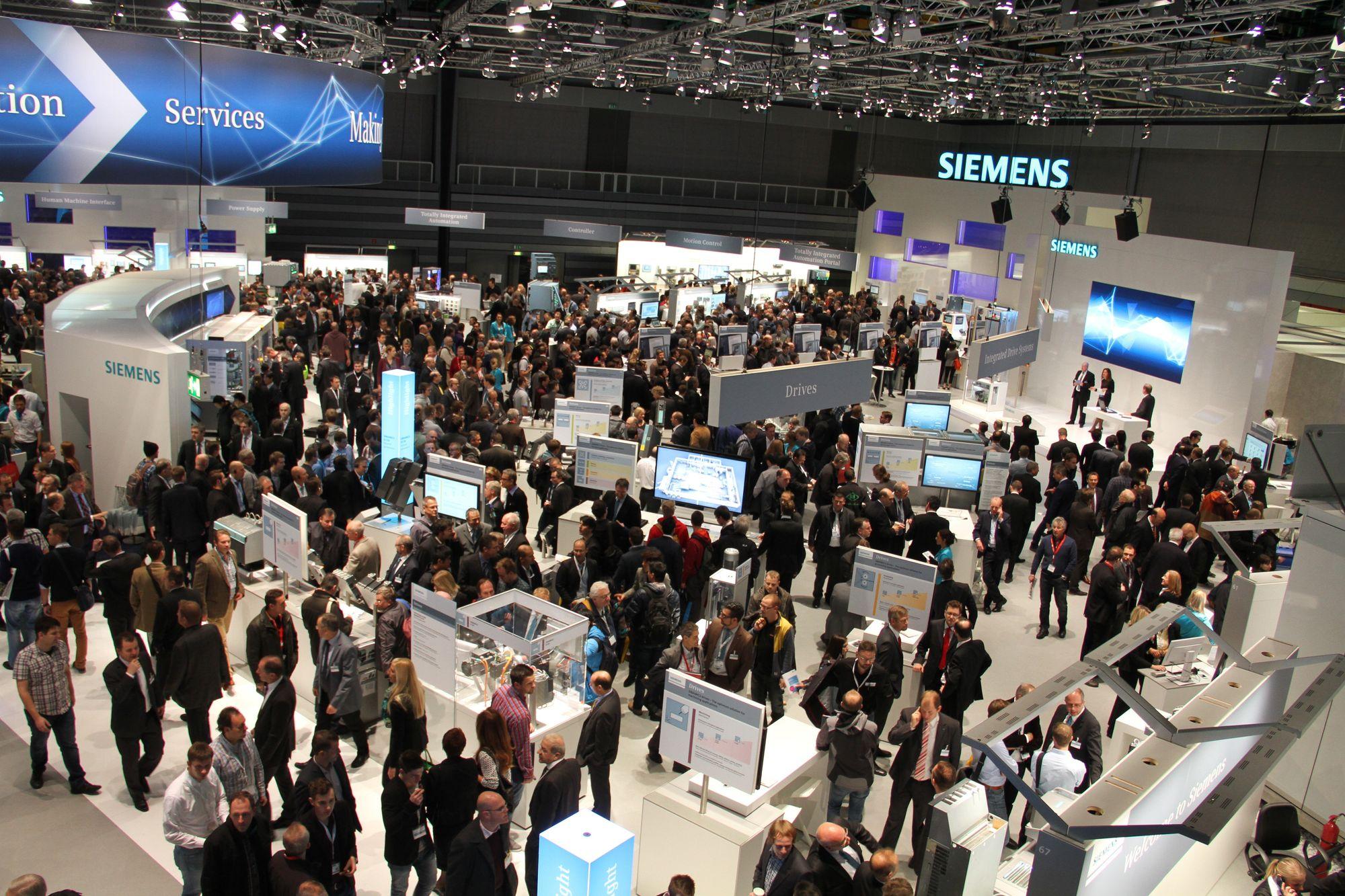 SPS IPC Drives, Nürnberg. Bildet er fra 2014 der Siemens hadde egen hall.