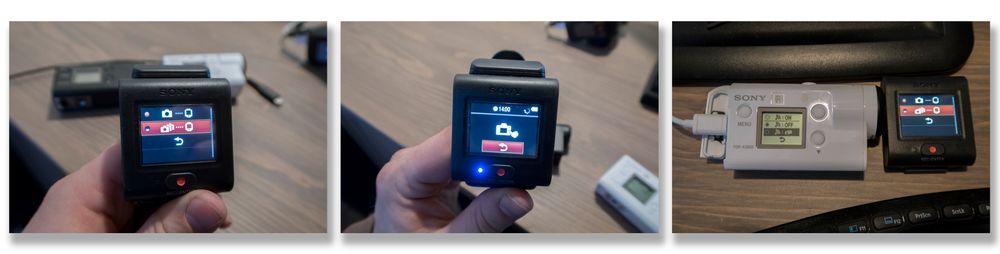 Fra venstre: 1. Velge multikameramodus på fjernkontrollen. 2. Hva f...? Dytt fingeren på kameraet? eh...? 3. Forsøk forgjeves å finne ut hvordan det fungerer i Sonys manualer og instruksjonsvideoer, gi opp, let i menyene til du tilfeldigvis finner en slags multikamerafunksjon under Wi-Fi-innstillingene.