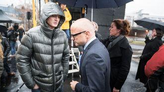 Klima- og miljøminister Vidar Helgesen og Øystein Stray Spetalen på hydrogenstasjonåpning.