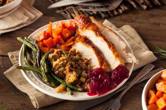Slik ser en overfylt thanksgivingtallerken ut.