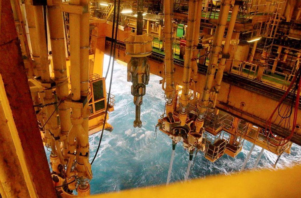 Oljeboring på det enorme Johan Sverdrup-feltet i Nordsjøen.