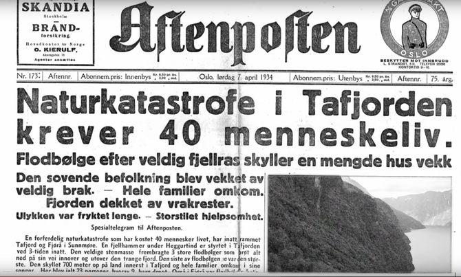 Tafjord-ulykka var en naturkatastrofe som fant sted natt til 7. april 1934 i Tafjorden på Sunnmøre. Et større fjellparti raste ut i fjorden og flodbølgen fra raset raserte store områder og drepte 40 mennesker i Fjørå og Tafjord. Foto: Aftenposten.