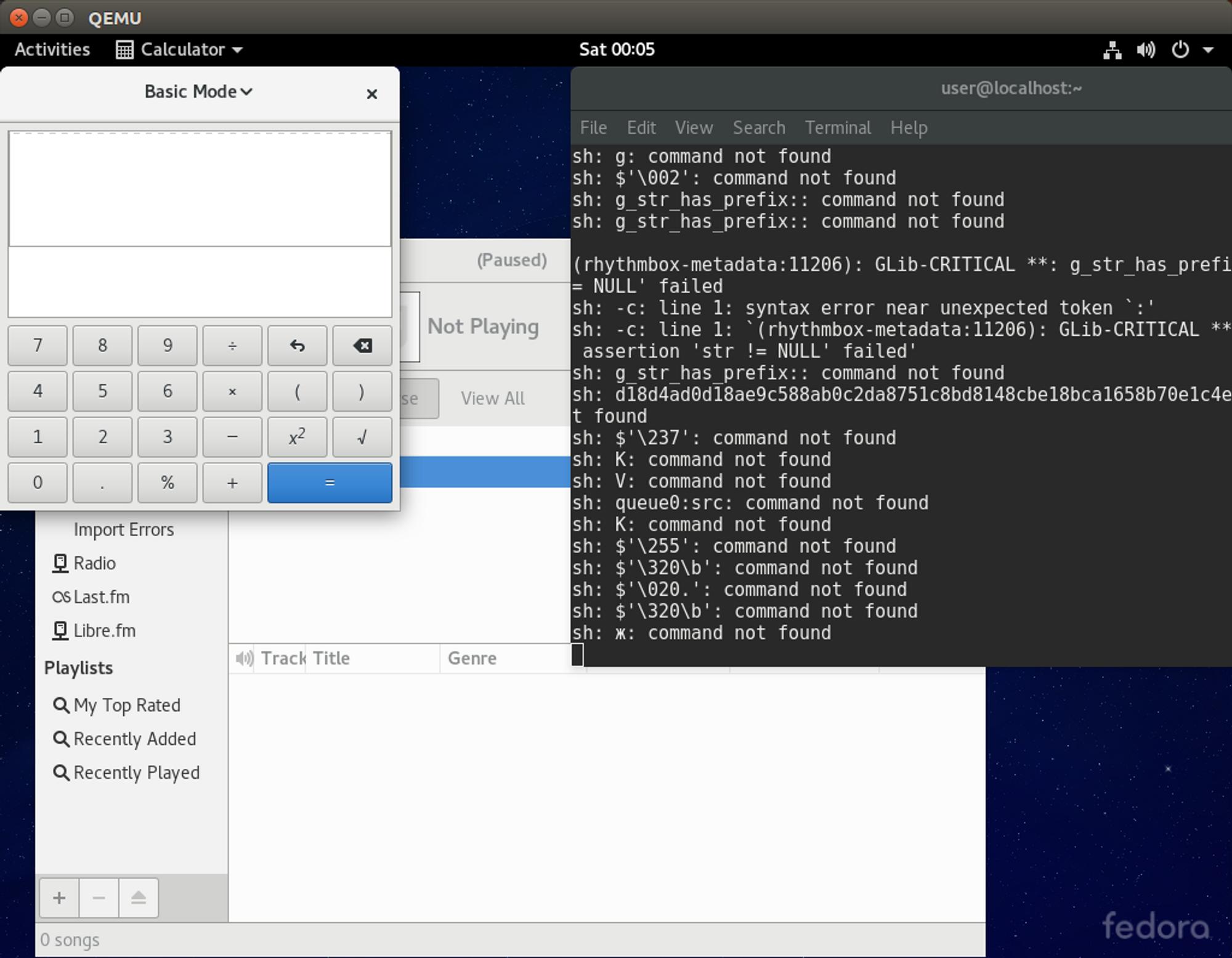 I dette tilfellet får angrepskode i FLIC-filen bare en kalkulator til å åpne seg i Fedora, i tillegg til selve medieavspilleren. Men det kunne ha vært enhver annen kommando.