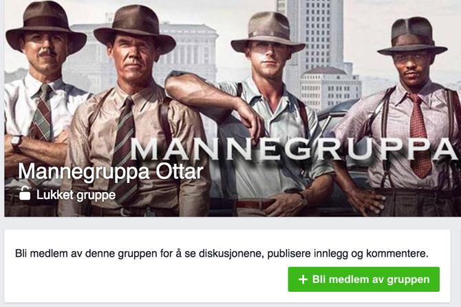 Faksimile av Facebook-gruppen Mannegruppa Ottar. (Faksimile)