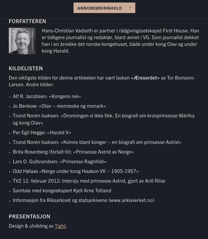 GRUNDIG ARBEID: En solid byline og kildeliste fra Hans-Christian Vadseth.