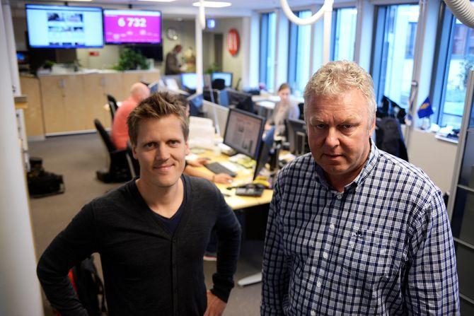 Nyhetsredaktør Morten Ulekleiv og sjefredaktør Hans-Petter Kjøge i Halden Arbeiderblad (Foto: Erik Waatland)