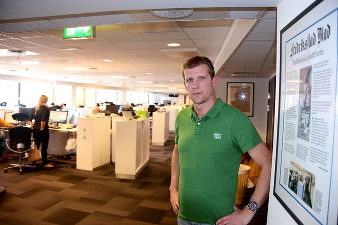 Nyhetsredaktør Jon Jacobsen i Fredriksstad Blad. (Foto: Erik Waatland)