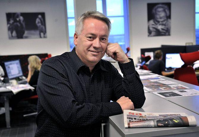 Sjefredaktør Bernt Lyngstad i Sarpsborg Arbeiderblad (Foto: SA)