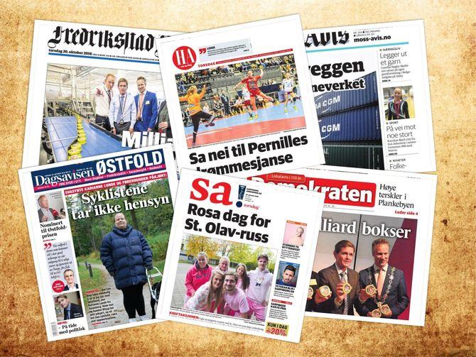 AVISKRIGEN: Antall medier i Østfold har økt betydelig bare de siste årene. Hvordan merker de gamle avisene konkurransen på kroppen? (Montasje)