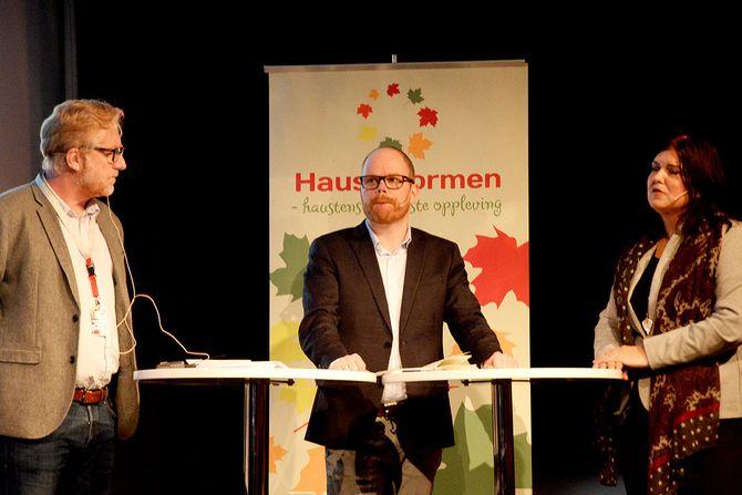 Fra debatt om varslere på Hauststormen: Regionredaktør Kai Aage Pedersen i NRK Vest, nyhetsredaktør Gard Steiro i VG og jurist Birthe Eriksen. (Foto: Erik Waatland)