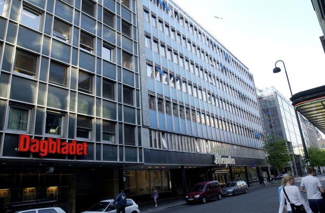 AKERSGATA: Tidlig på2000-tallet - med både Dagbladet og Aftenposten i eget bygg. (Foto: Thomas Bjørnflaten / Scanpix)