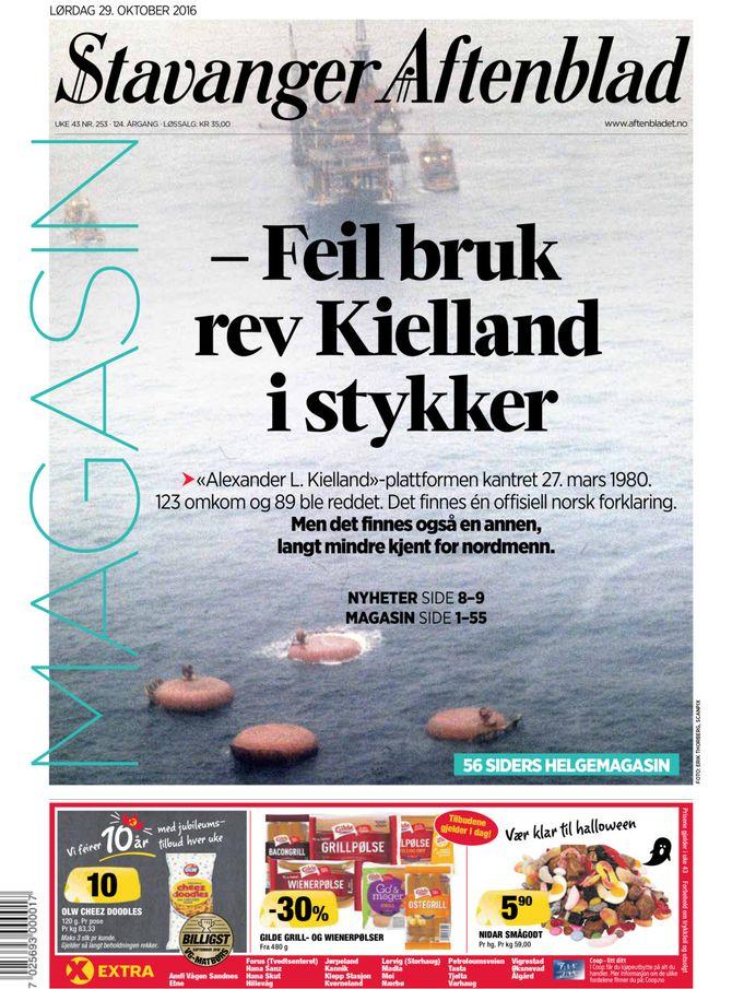 Forsiden på Aftenbladet lørdag.