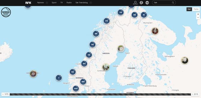 Faksimile fra NRK sitt digitale kart over alle reportasjene i Norge Rundt (Faksimile: NRK)