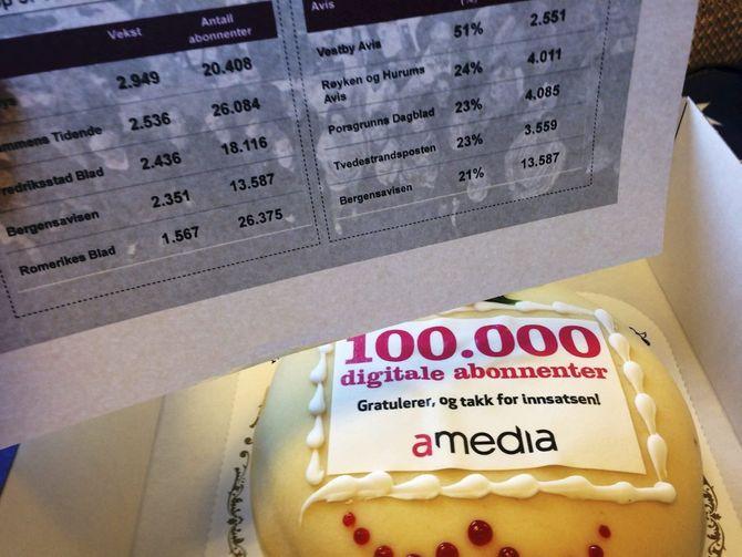 Porsgrunns Dagblad fikk denne kaken av Amedia i går. (Foto: PD)