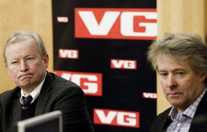 Torry Pedersen (t.h.) og Bernt Olufsen i 2011 - da førstnevnte overtok stafettpinnen som sjefredaktør og direktør i VG.