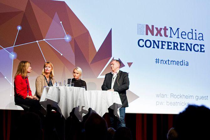 Debatt om mediemangfold på NxtMedia sin konferanse. Fra venstre: Anette Novak fra det svenske mediemangfoldsutvalget, adm dir Randi Øgrey i MBL og Hildegunn Amanda Soldal i Aller.