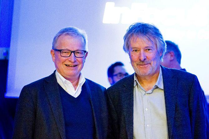 TIdligere sjefredaktør Bernt Olufsen i VG og nåværende sjefredaktør Torry Pedersen i VG. (Foto: Erik Waatland)