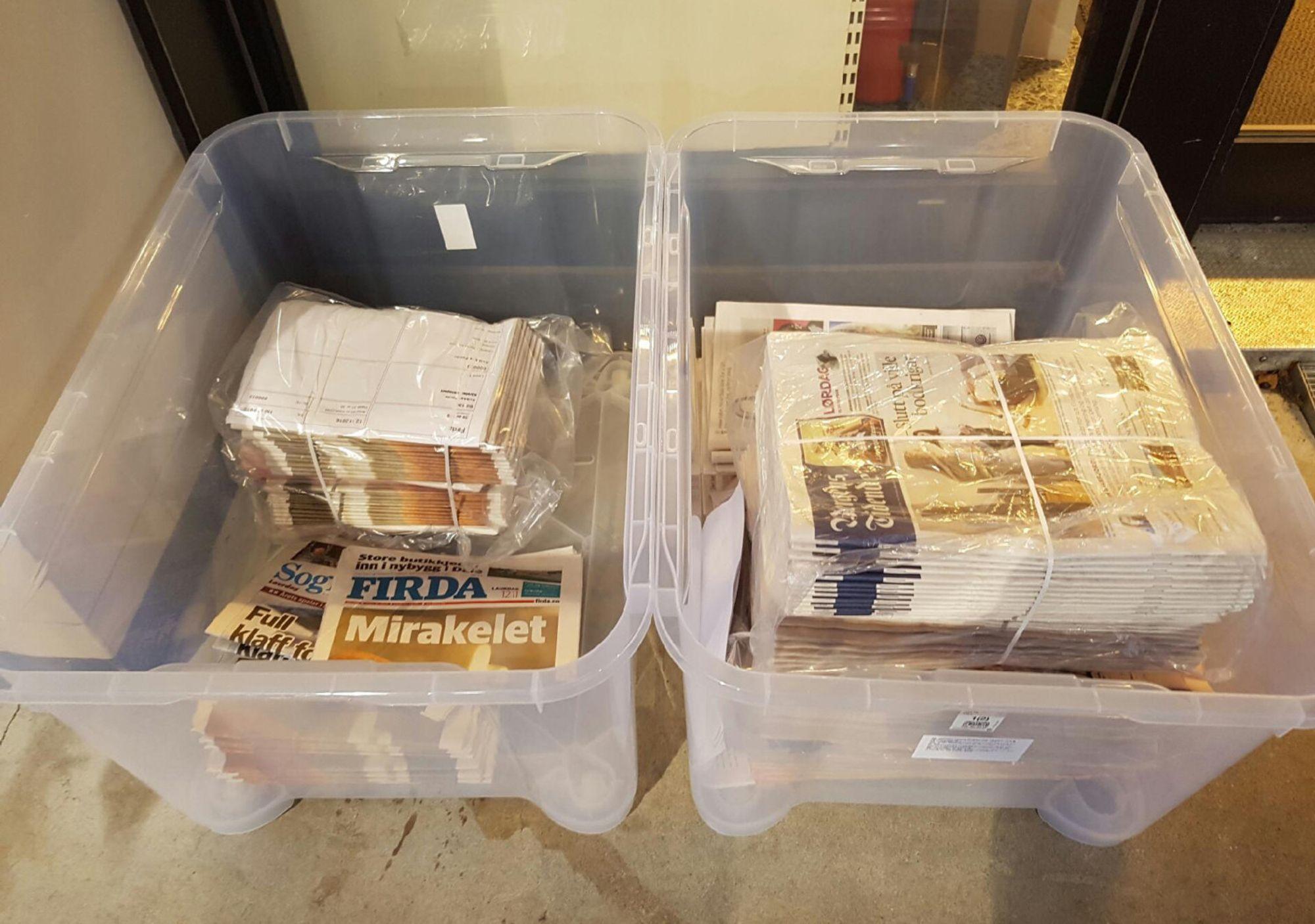 Her endte noen av Firda sine aviser for noen uker siden - angivelig forlatt av Kvikkas.