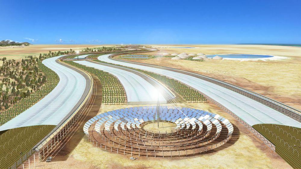 Slik kan et større Sahara Forest Project-anlegg i ørkenområder se ut.